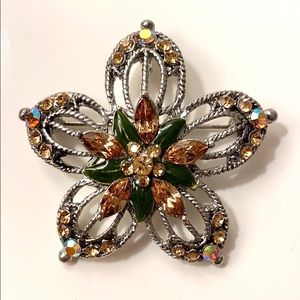 Sparkling Flower Brooch Pin